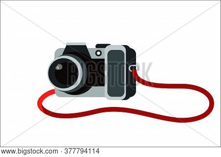 Camera Vector Cartoon Illustration. Photography Equipment Flat Clipart. Taking Snapshot During Vacat