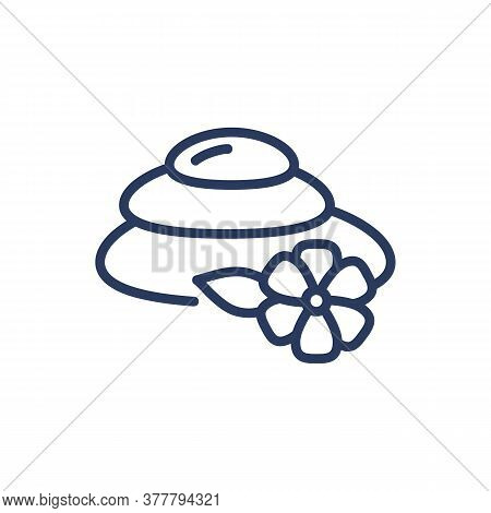 Spa Stones Thin Line Icon. Therapy, Massage, Lotus Flower Isolated Outline Sign. Wellness, Spa Salon