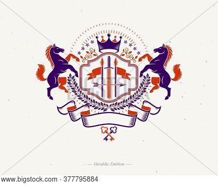Vintage Decorative Emblem Composed Using Graceful Horse Illustration, Imperial Crown And Spears, Her