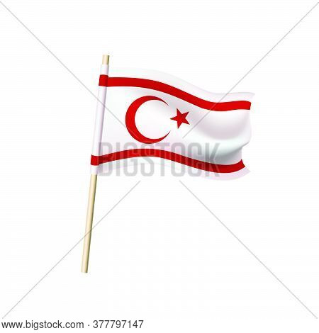 Flag Of The Turkish Republic Of Northern Cyprus (crescent Moon With A Star And Two Red Stripes On A