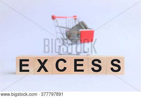 Surplus In Sales, Marketing Supply And Demand Concept Lettering On Wooden Cubes On White Background,