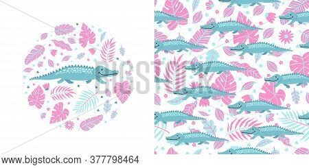 Seamless Kid Pattern And Illustration With Crocodile And Leaves. Cute Pajama Design.
