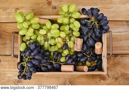 White Grapes On A Wooden Background. Juicy And Ripe Bunches Of Grapes. Top View. Free Space For Text