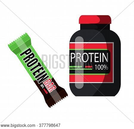 Protein Powder In Black Plastic Container With Red Lid And Bar In Green Brown Wrapping. Sport Food N