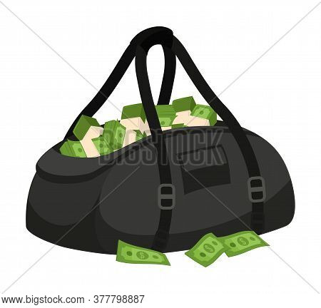 Open Black Leather Bag With Green Stolen Banknote Cash Isolated On White Background. Bank Theft. Fin