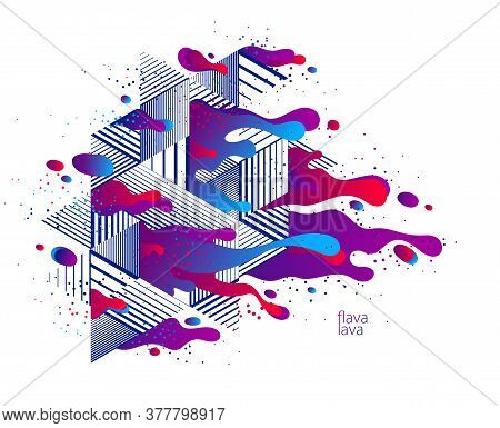 Abstract Colorful Lava Fluids Vector Illustration With Geometric Lines, Bubble Gradients Shapes In M