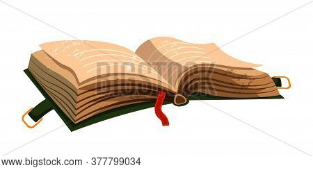 Vector Cartoon Illustration Of Old Open Green Book With Clasp And Old Brown Pages, Red Bookmark. Des