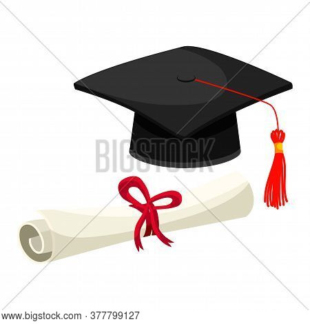 Graduation Diploma Degree Certificate Roll Tied With Ribbon And Black Academic Hat Red With Tassel S