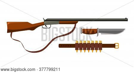 Weapon Firearms And Steel Arms Set For Hunting Season Isolated On White Background. Shotgun With Car