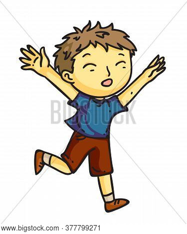 Vector Character Cheerful Little Boy Runs With Arms Outstretched. Happy Kid Running And Enjoys Resti