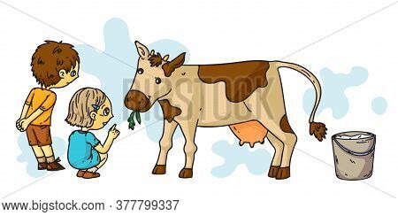 Little Boy And Girl Feeding Cow. Friend Enjoy Spending Time With Farm Animal At Countryside. Cattle