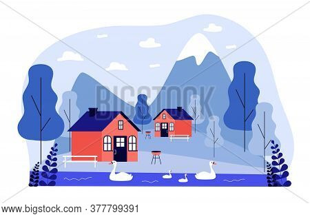 Small Cottages Or Houses In Mountains. Backyard, Summer, Weekend Flat Vector Illustration. Nature An