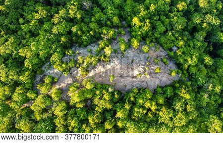 Scenic Aerial View Of Rocky Mountain Summit At Adirondacks Area