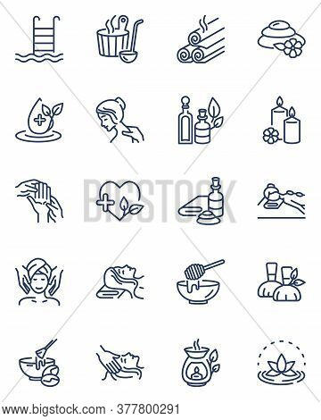 Spa Salon Icons Set. Illustrations Of Cosmetic Facial Massage, Stone Therapy, Aromatherapy, Sauna, C