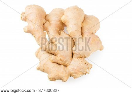 Ginger Roots Isolated On White Background. Top View