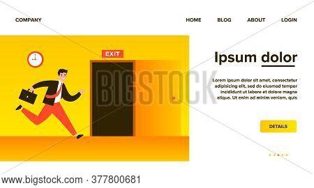 Businessman Running To Open Exit Door Flat Vector Illustration. Cartoon Office Worker Using Safety W