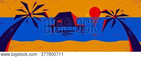 Summer Tropical Beach With Palms And House Vacations And Holidays Vector Illustration, Relaxation An