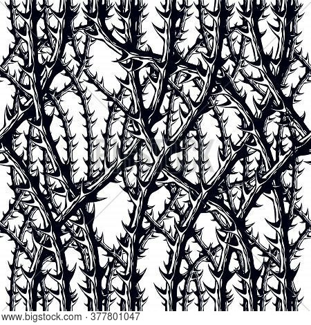 Horror Style Horrible Seamless Pattern, Vector Background. Blackthorn Branches With Thorns Stylish E