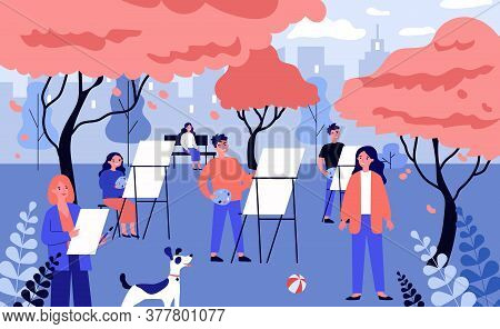 Happy Young Artists Painting Nature In Open Air. Autumn, Art, Lesson Flat Vector Illustration. Hobby