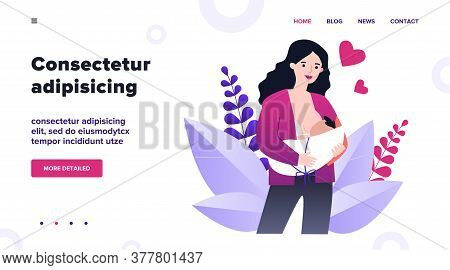 Happy Cartoon Mom Breastfeeding Baby Flat Vector Illustration. Young Mother Giving Milk To Infant. N