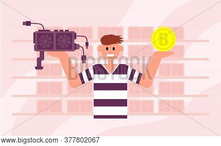 Man Holds A Bitcoin In One Hand And A Video Card In The Other. Front View. Color Vector Flat Cartoon