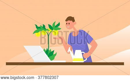 Man Watering A Money Tree With Bitcoins. Color Vector Flat Cartoon Illustration. Concepts For Invest