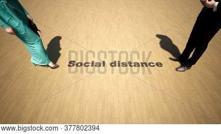 Concept or conceptual 3d illustration of a meeting under social distance guidelines as a means of prevention and protection against the coronavirus.  A metaphor for the new normal in social relations