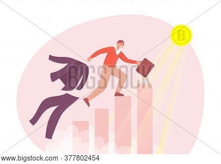 Man Runs Up The Stairs To The Gold Bitcoin And Changes Clothes. Color Vector Flat Cartoon Illustrati