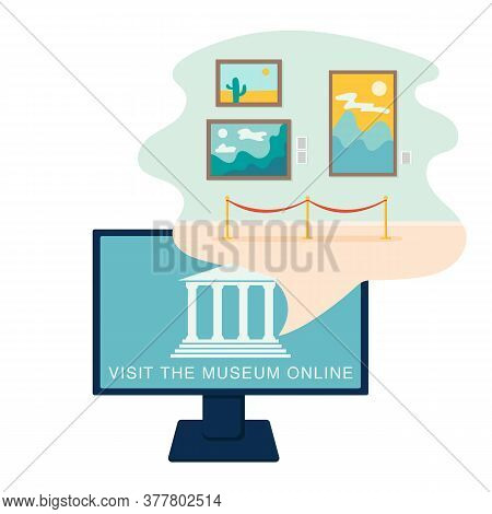 Online Museum Concept In Flat Style. Vector Design. Virtual Gallery, Excursion. Vector Illustration