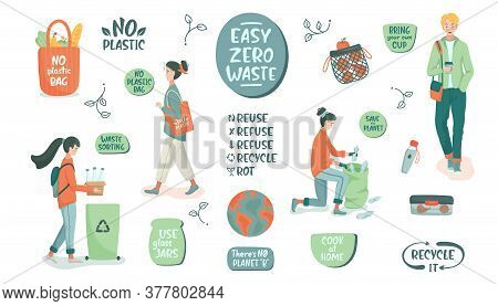 Eco Vector Illustration. Zero Waste Lifestyle. People Sorting Waste And Use Eco Bag And Reusable Cup