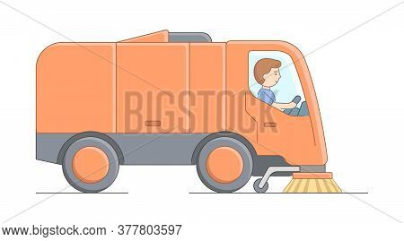 Urban Services And Environment Protection Concept. Worker Sweeper Truck Driver At Work. Man Sweeps C