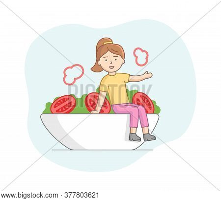 Vegetarianism And Healthy Nutrition Concept. Woman Eating Healthy Food. Character Eats Salad With To