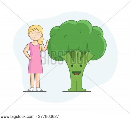 Vegetarianism And Healthy Nutrition Concept. Woman Eating Healthy Food. Character Standing Near Big