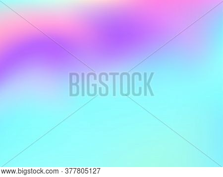 Holographic Gradient Neon Vector Illustration. Blurry Iridescent Mermaid Background. Liquid Colors N