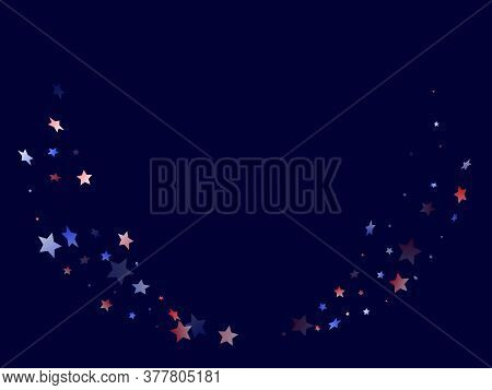 American Patriot Day Stars Background. Holiday Confetti In Usa Flag Colors For Patriot Day. Bright R