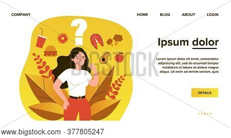 Cheerful Woman Thinking Over Her Snack And Choosing Between Junk And Healthy Food. Vector Illustrati