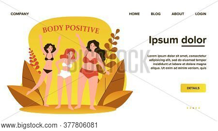 Body Positive Female Characters In Bikini Waving By Hands Flat Vector Illustration. Happy Plus Size