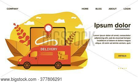 Express Van Delivering Parcel, Box Or Package. Map, Gps, Vehicle Flat Vector Illustration. Delivery