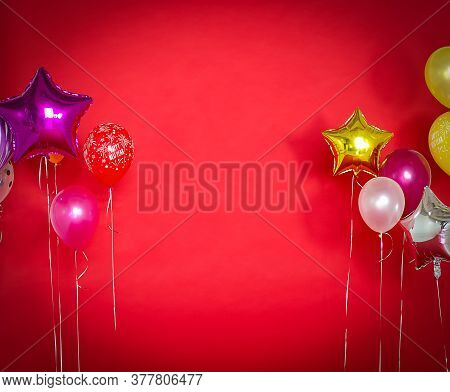 Happy New Year, Balloons On A Red Background