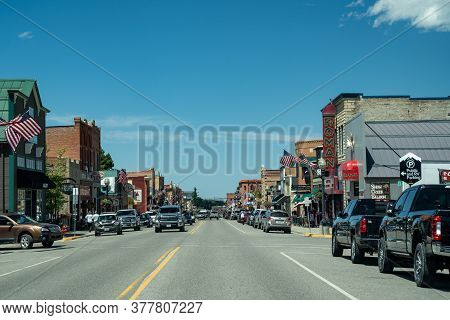 Red Lodge, Montana - July 2, 2020: Downtown Streets Of The Small Tourist Town Of Red Lodge, Just Out