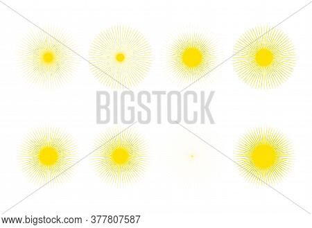 Geometric Sunburst Collection. The Sun Rays Frame Set With Thin Rays Of Different Kinds Vector Illus