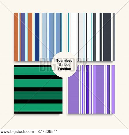 Sailor Stripes Seamless Pattern Set. Funky Fashion Background Summer Autumn Retro Fashion Print. Ele