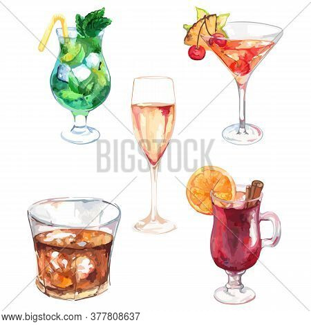 Watercolor Exotic Drink Alcohol Cocktail Set Isolated Vector