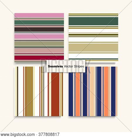 Sailor Stripes Seamless Texture Set. Female Male Childrens Seamless Stripes Design. Retro Lines Endl