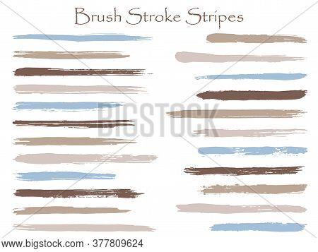 Trendy Ink Brush Stroke Stripes Vector Set, Grey Blue Horizontal Marker Or Paintbrush Lines Patch. H