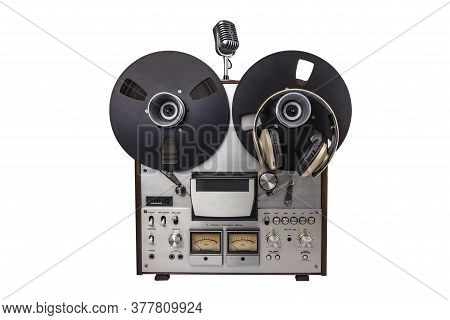Reel To Reel Audio Tape Recorder And Microphone Isolated On White Background