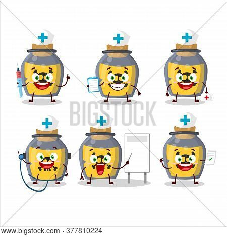 Doctor Profession Emoticon With Dangerous Potion Cartoon Character