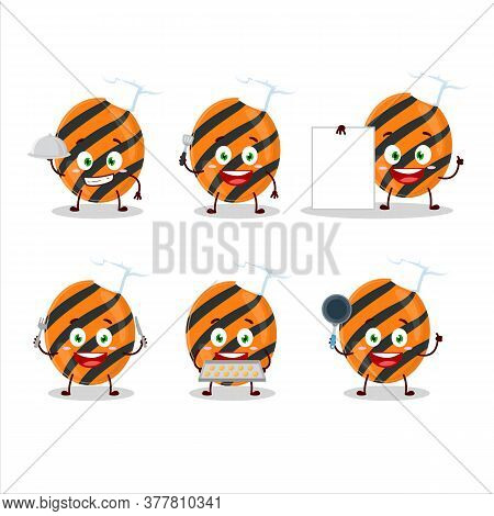 Cartoon Character Of Halloween Stripes Candy With Various Chef Emoticons