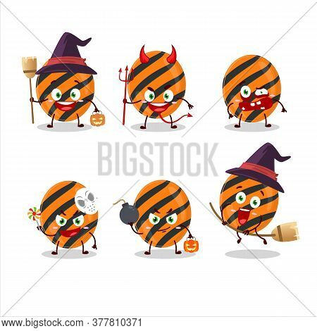 Halloween Expression Emoticons With Cartoon Character Of Halloween Stripes Candy