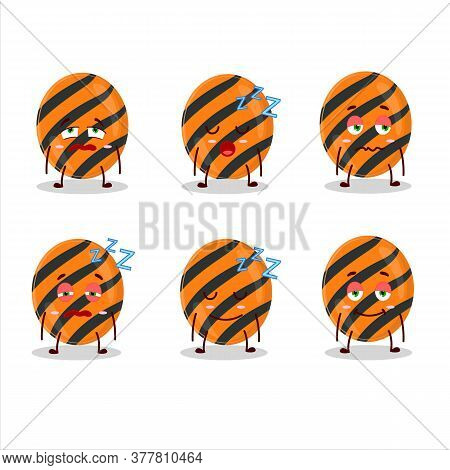 Cartoon Character Of Halloween Stripes Candy With Sleepy Expression